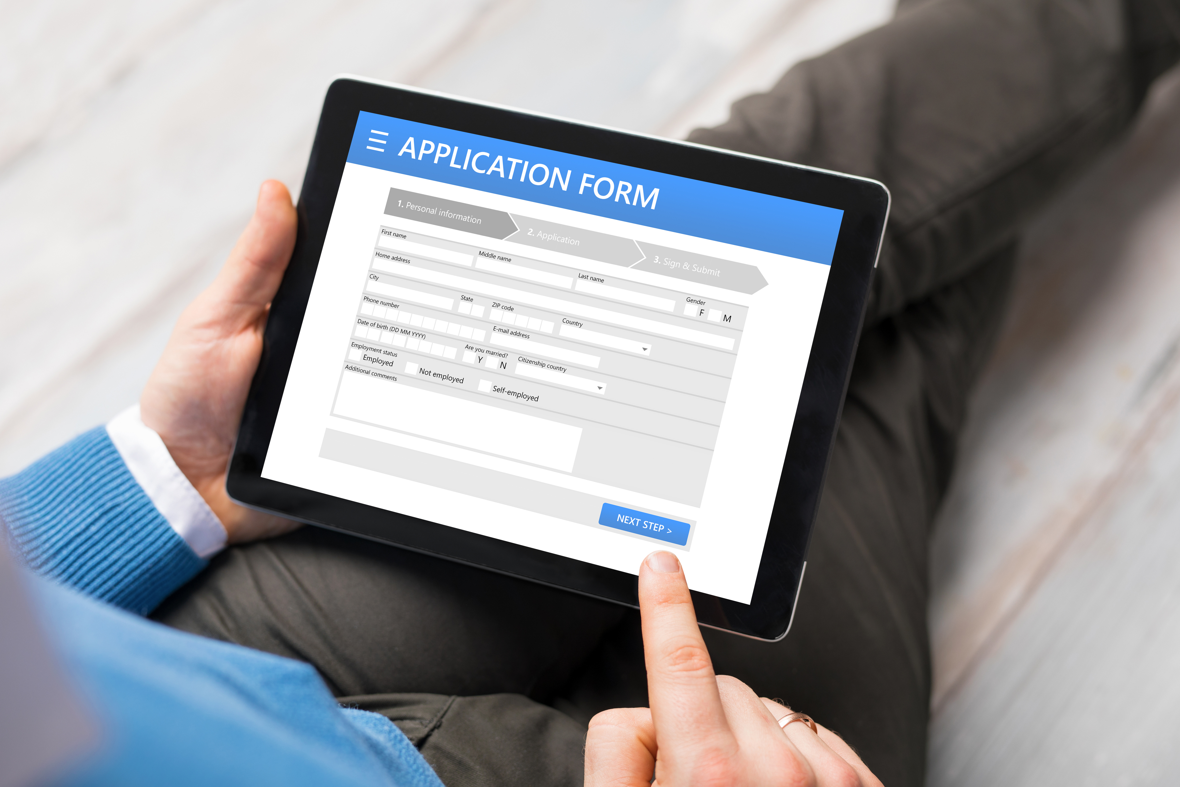 Personal device with an application form on it