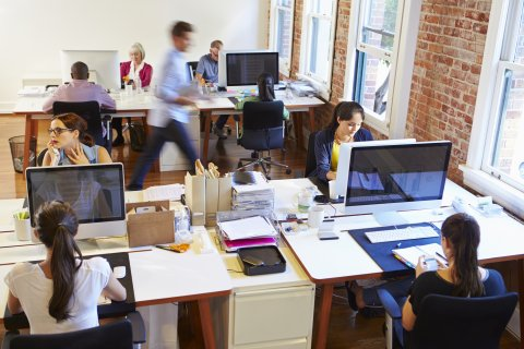 working in a modern office
