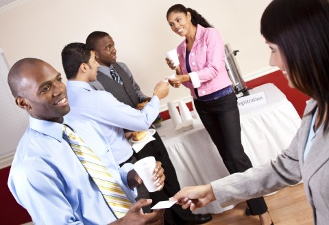 Group of people networking in the summer