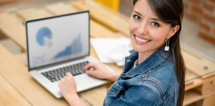 Young woman taking an online business program