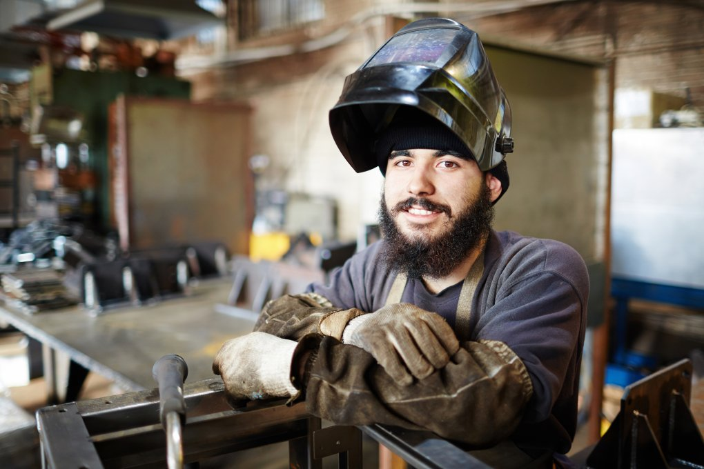 safety gear and clothing on a welder