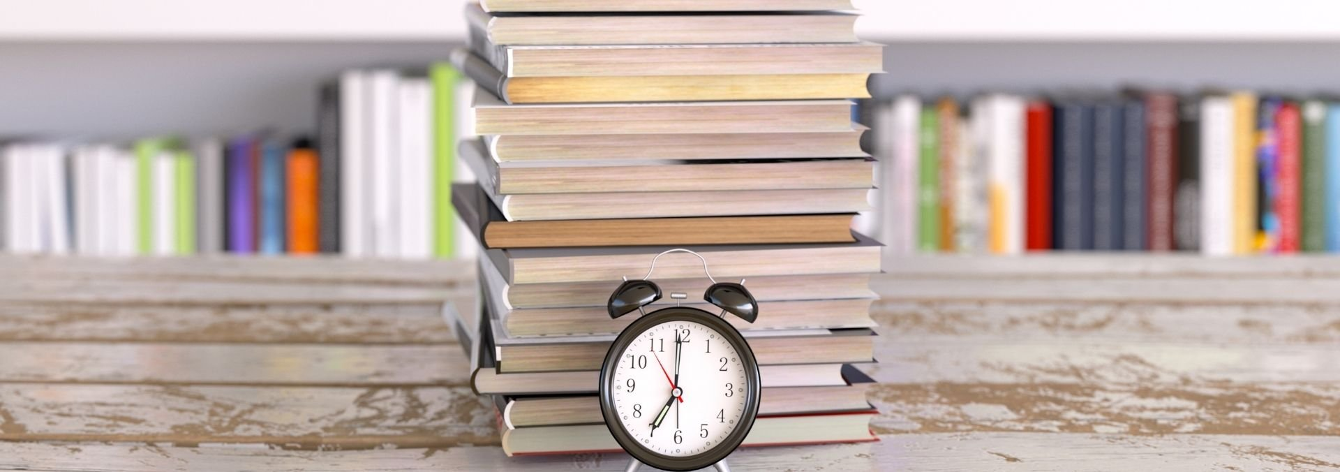 college books with clock