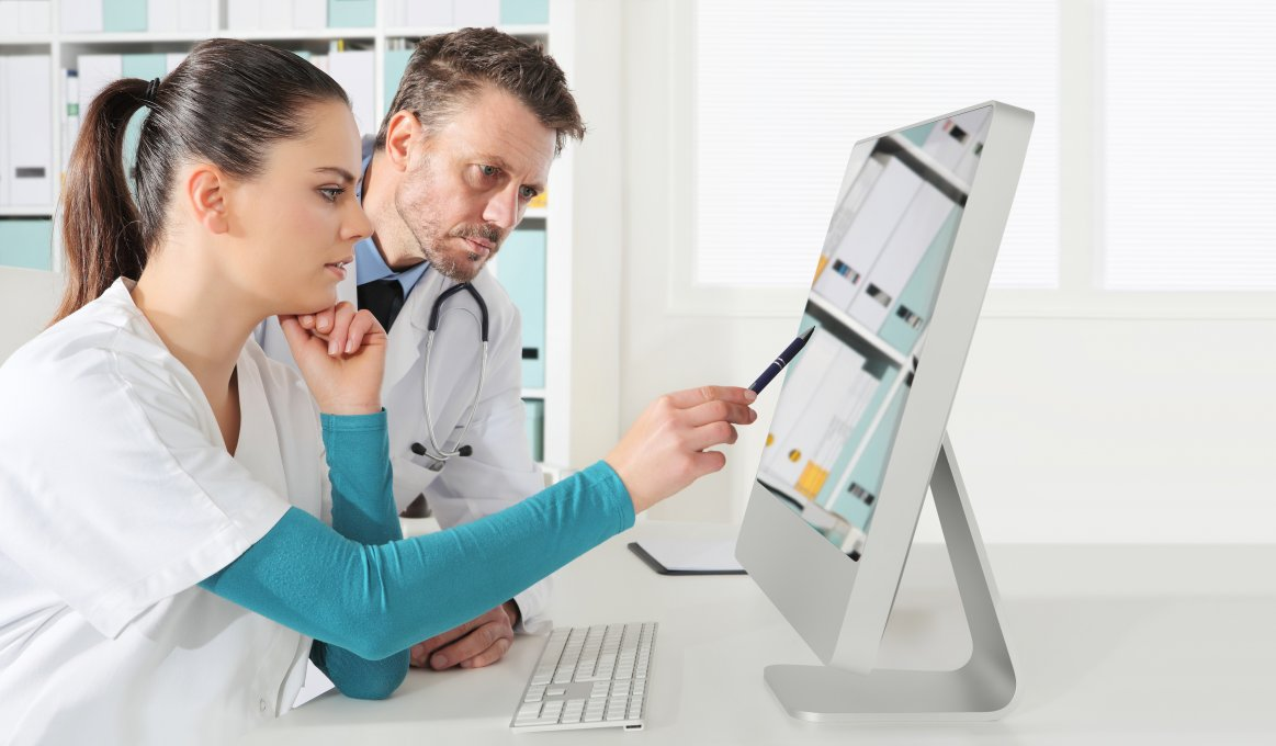 healthcare professionals using technology