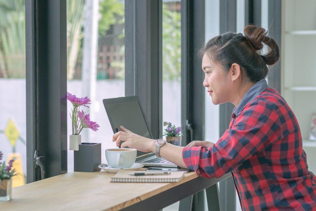 woman taking online program