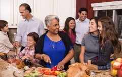 a Thanksgiving feast with famil